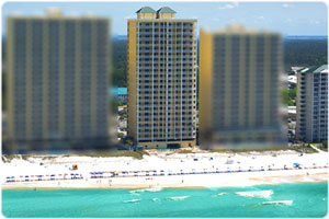 Ocean ritz is the center condominium between Ocean Villa and Tropic Winds in Panama City Beach.